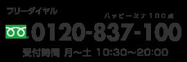 フリーダイヤル0120-837-100(ハッピーミナ100点)受付時間/月〜土10:30〜20:00